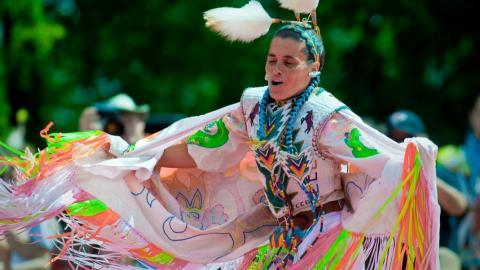 a dancer at a powwow