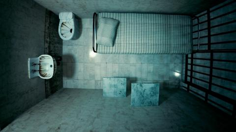 Overhead view of a small prison cell for one person.