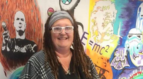 Jacqueline Sokol in her art studio