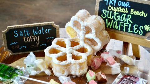 sugar waffles, candy suckers and taffy