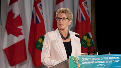 Premier Kathleen Wynne at the Climate Summit of the Americas in 2015.