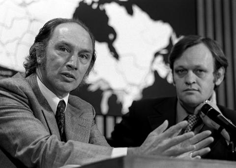 Prime Minister Pierre Trudeau speaks at a June 19, 1972, press conference with cabinet minister Jean Chrétien. (Peter Bregg/CP)