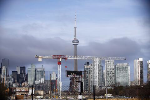 Toronto skyline with construction cranes