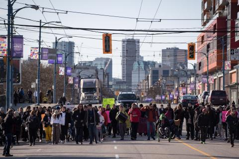 protesters march in Vancouver
