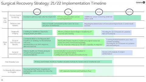 implementation timeline for the surgical-recovery strategy