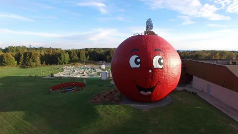 large red apple-shaped structure with a smiley-face