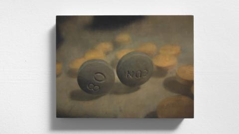 Painting representing two prescription pills.