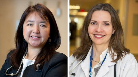 two headshots of smiling women with stethoscopes