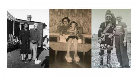 three family photos