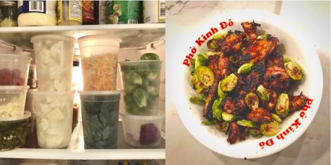ingredients in fridge on left; finished meal on right