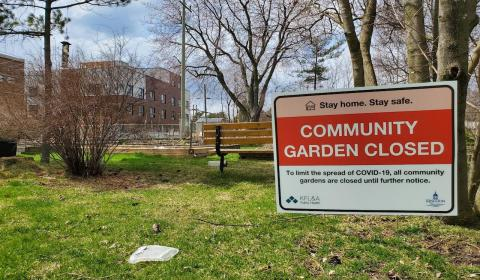 sign that says Community Garden Closed