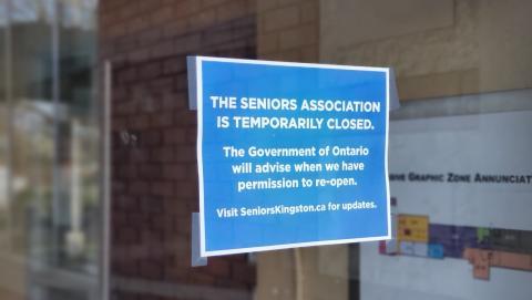 closure sign at a seniors centre