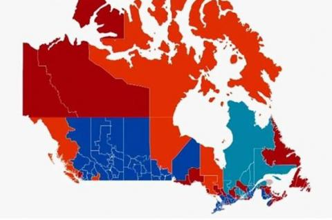 Map of Canada showing various ridings in different colours based on which party won where.