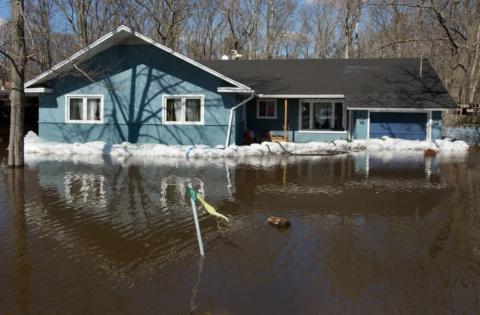 a house in a flood