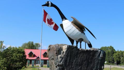 a goose sculpture in front of a Canadian flag
