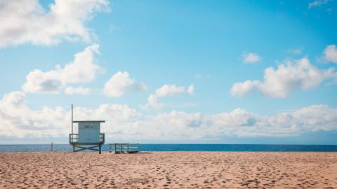 beach with lifeguard hut