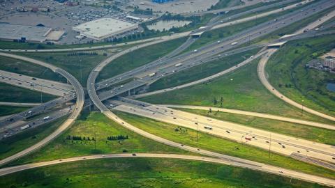 overhead shot of intersecting highways