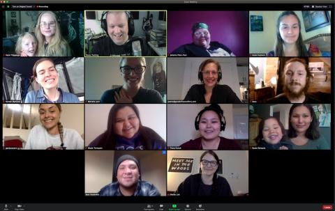 a group of people participate in a video call