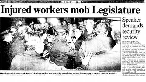"front-page newspaper article titled ""Injured workers rusk legislature"""