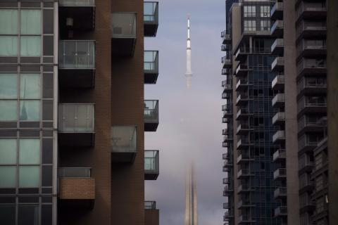 CN tower viewed from Liberty Village condos