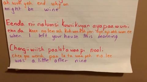 Example of Lunaapeew language.