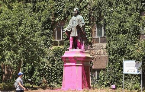 statue painted pink