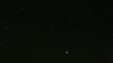 one bright star in dark night sky
