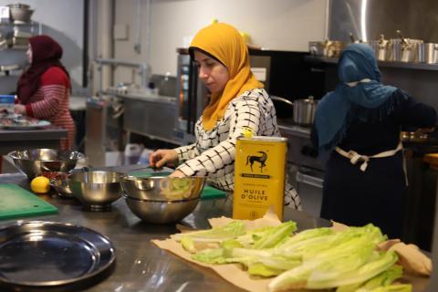 women working in a kitchen