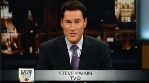Steve Paikin moderating the 2008 federal leaders' debate (Source: CBC.ca)