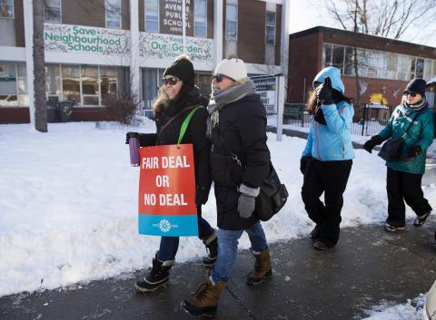 Ontario educators walking a picket line