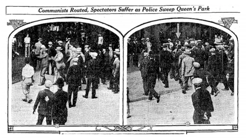 photos from an old newspaper showing police and demonstrators
