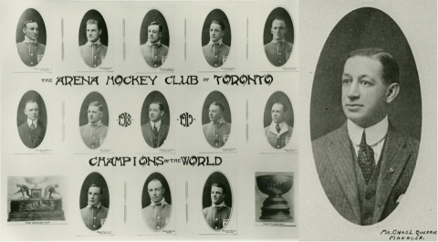 individual portrait shots of the Arenas hockey team on left; larger portrait of manager on right