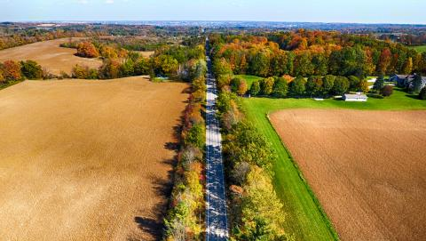 a road bisecting fields