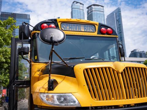 closeup of a school bus
