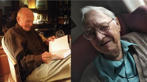 two photos of older men