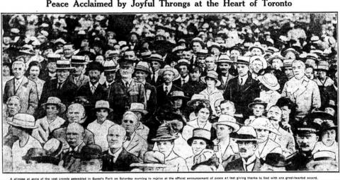 a newspaper clipping showing a Toronto crowd in 1919