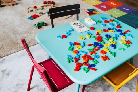 a desk in a day care centre