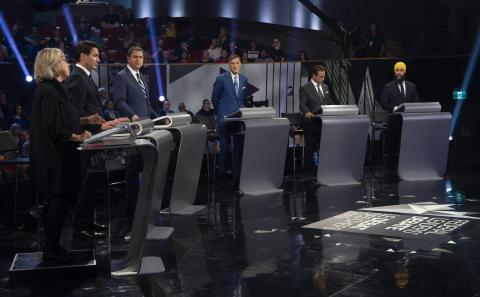 Canadian political leaders in a studio for an election debate