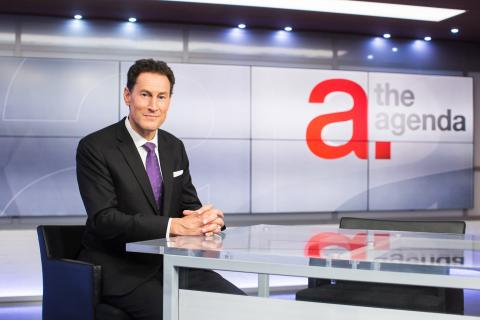 Steve Paikin on the set of The Agenda.