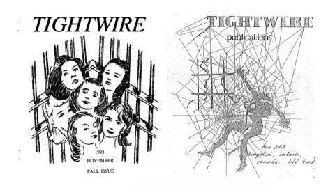 left: drawing of women behind bars; right, drawing of woman caught in a web