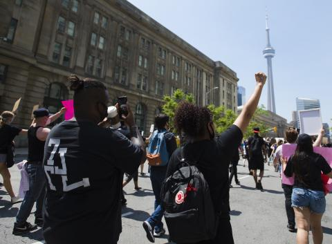protesters at an anti-racism rally in Toronto