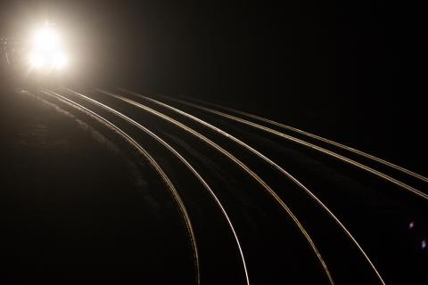 train travelling at night