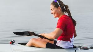 Woman sitting in kayak from the article  'It's just the state of the world right now': Going to the Olympics during a pandemic