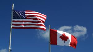Canadian and American flags from the article Can Ontario's economy recover if the U.S. can't get COVID-19 under control?