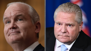 side-by-side closeups of two men wearing collared shirts and jackets from the article To win more votes in Ontario, Erin O'Toole should study Doug Ford's past and present