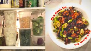 ingredients in fridge on left; finished meal on right from the article The joy of cooking in quarantine