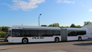 an articulated bus from the article Why Durham region is going the microtransit route during the pandemic