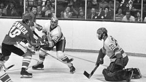 hockey player shoots on goal from the article 'More to it than just hockey': Revisiting the Summit Series, 48 years later
