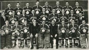 black and white photo of a hockey team wearing Canada jerseys from the article It's time to right one of hockey history's greatest wrongs