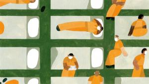 drawing of figures in orange jumpsuits with masks on from the article Anatomy of an outbreak: How COVID-19 overran this Ontario prison